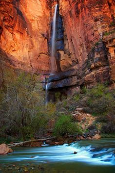 Waterfall at Temple of Sinawava, Zion National Park