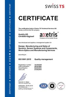 #Axetris AG - ISO 9001:2015 #Certificate Certificate, Management, Technology, Tech, Tecnologia, Certificate Of Deposit