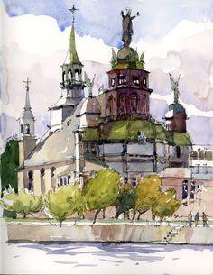 Urban Sketchers: Workshop in Old Montreal. Notre-Dame-de-Bon-Secours church, by Marc Taro Holmes