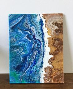 "Original Abstract Painting by ArtFulDay ""Fluid Coastline"" 14x11 My Beautiful fluid beachy coastline painting. Each painting is one of a kind. I can make some similar but not the same! The Ocean has swirls of blue, grey, and bits and dustings of green. The coast line is mostly a dark"