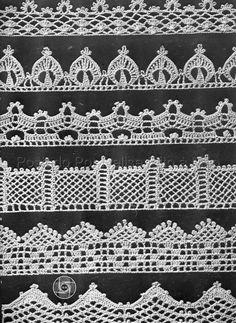 Pretty crochet lace edgings ~~ Barradinhos Em Crochê