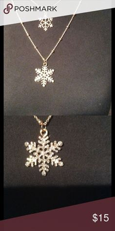 """Brand new double necklace Brand new double necklace w/ blinged out snowflakes ❄️. Lobster claw clasp top necklace dangles 9.5"""" bottom hangs 12.5"""". Luxe Angel Jewelry"""
