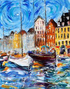 Original Oil Painting Nyhavn Copenhagen Harbor by Karensfineart