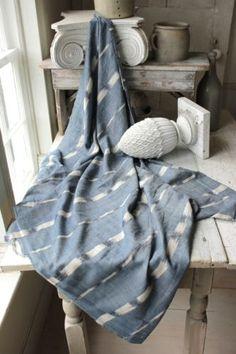 Antique Ikat fabric French flamme 18th century indigo timeworn fabric faded blue