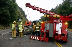 On May 2010 just after the LAFD responded to a Traffic Collision at La Tuna Canyon Road & Foothill FY near the Sunland-Tujunga area. © Photo by David DeMulle. Big Rig Trucks, Tow Truck, Fire Trucks, Fire Dept, Fire Department, Towing And Recovery, Cool Fire, Emergency Equipment, Fire Prevention