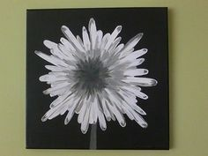 A modern, detailed flower painting that will make any room in the house or workplace look fabulous! Black and white with shades of gray will fit in with any room decor. The flower looks 3D, especially in the evening.