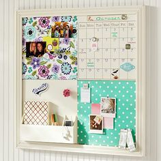 Beautiful board to have in a girl's room. Two patterned pin boards, magnetic whiteboard calendar and storage shelf. Such a good idea! 2X2 Abby Floral Style Tile 2.0 Set