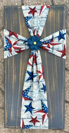 0e417c40092 Fabric cross on wood American flag American by SleepCreateRepeat Patriotic  Decorations
