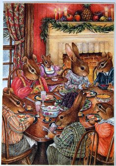 Animals having Christmas dinner. (Artist: Susan Wheeler.)