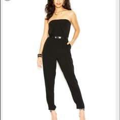 Guess Black Strapless Jumpsuit Great wardrobe stable! Black strapless Jumpsuit. The bottoms are snitched making them easy to wear up or down. The waist has adjustable tie. Perfect to wear with heels or dress down with sneakers. Please not it is not the cover photo. That is simple just demonstrating how it can be worn. Guess Pants Jumpsuits & Rompers