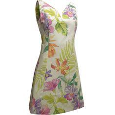 Vestido Tubinho de Decote Princesa Creme com Flores Tropicais. - Atelier Luiza Pannunzio