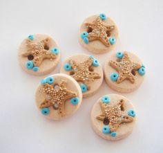 Button Sparkling Starfish handmade polymer clay by digitsdesigns