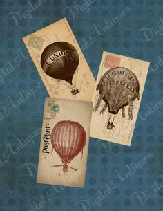 Vintage Balloon Postcard Tags  Digital Download by DigitalAntiques, $3.75