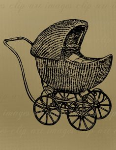 Baby Clip Art, Vintage Baby Carriage, 1920, Royalty Free, Commercial Use, No Credit Required, for Baby Shower designs, etc.. $1.50, via Etsy.