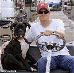 Dale Earnhart, Jr. and his boxer, Killer
