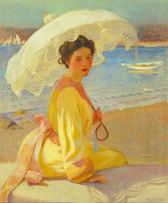 Girl with the sea beyond