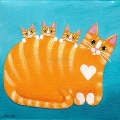 Ginger Tabby Mother Cat and Kittens Original by KilkennycatArt
