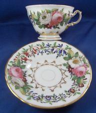 Antique 19thC Pirkenhammer Czech Porcelain Floral Cup & Saucer Porzellan Tasse