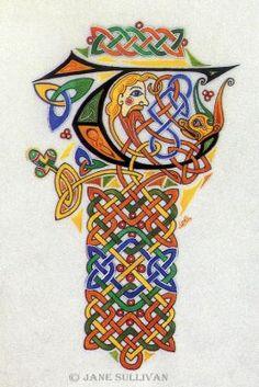Celtic Pattern fantasy T fonts calligraphy Celtic T  ©Jane SullivanCeltic T©