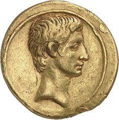 Aureo - oro - Roma o Brindisi (32-29 a.C.) - C.Giulio Cesare Ottaviano di profilo vs.dx. - Münzkabinett Berlin