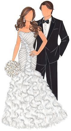 Custom Bridal Illustration Bride & Groom #JenHancock, #IllustratedBride, #CustomWeddingDressSketch, #CustomBridalIllustration