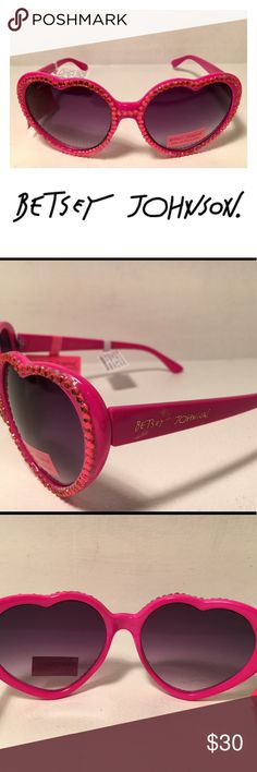 New! Betsey Johnson Rhinestone Heart Sunglasses Get your bling on with these fabulous sunglasses by Betsey Johnson! Measures 58-14-140mm (eye-bridge-temple), frame color; pink, lens color: smoke gradient, frame material: plastic with rhinestones, lens type: plastic, 100% UV protection, NEW with tags. Betsey Johnson Accessories Sunglasses