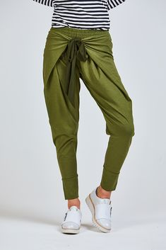Favourite virtue pants are back in plains with ribbon ties and elastic waistAlso available in navy and black Standard cotton, elastaneModel is and is wearing a size XSAvailable in sizes XS-XL Shop Brands, 5 S, Parachute Pants, Women's Clothing, Harem Pants, Clothes For Women, Pretty, Cotton, How To Wear