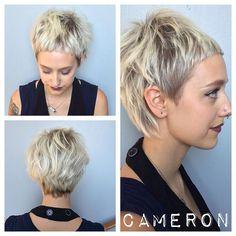 Even our people need help with their do's sometimes! Unique cut/color by Cameron on Salley! #unique #womenscut #pixie #shorthair #blonde #precisioncut #babybangs #republicsalon #davines