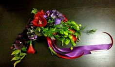 red and purple silk bouquet of callas, cymbid orchids, phalaenopsis orchids, roses and hydrangeas; design by Davis Floral Creations