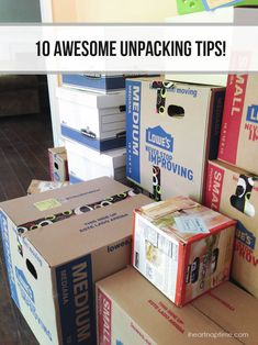 There are tons of great packing tips out there for a big move, but what about UNpacking? 10 Awesome Unpacking Tips Moving Day, Moving Tips, Moving House, Moving Hacks, Moving Checklist, Unpacking After Moving, Unpacking Tips, Move On Up, Big Move