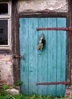 I am loving this turqoise color on everything! With copper! Wrought Iron Hardware, Vintage Doors, House Doors, Entry Doors, Blue Door, Rustic Doors, Doors, Cottage Style Doors, Mantle Art