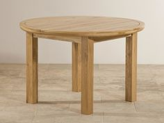 """Knightbridge 5ft 3"""" Natural Solid Oak Round Extending Dining Table"""