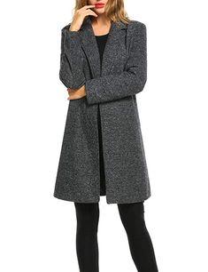 a703839fe29 Zeagoo Long Trench Jacket Women Lapel Coat Winter Lightweight Warm Classy  Wool Blended Jacket Casual Cardigan Long Sleeve w Pocket (X-Small