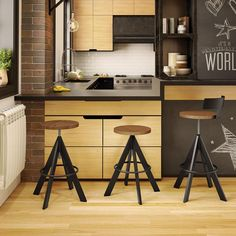 Unity Adjustable Stool | Unique - Industrial Bar Stool | Wood and Powder-Coat Finish | Modern Kitchen | Eurway