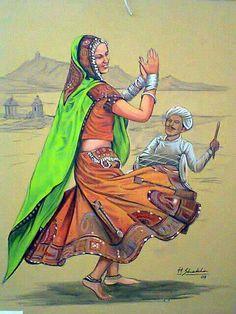 Aa Indian Artwork, Indian Folk Art, Indian Art Paintings, Texture Painting On Canvas, Fabric Painting, Canvas Art, Rajasthani Painting, Rajasthani Art, Saree Painting Designs