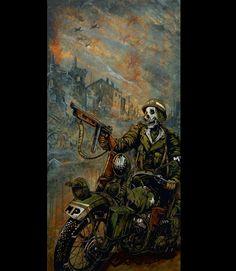 Day of the Dead Artist David Lozeau, Charging to the Front, Military Art, Dia de los Muertos Art, Sugar Skull Art, Candy Skull, Skull Art, Skeleton Art - 1