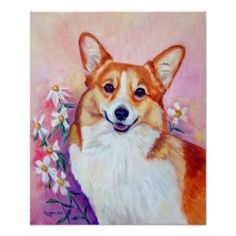 Beautiful #Pembroke #Welsh #Corgi #oil #painting #poster #prints created by #ladyartista - #cute #gift and home #decoration for any #dog lover #animal #art