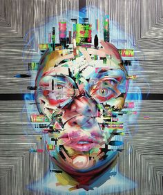 Los Angeles-based painter Justin Bower makes portraiture a glitched metaphor, literally and figuratively, to the present and future of a combined human and computer existence.