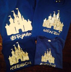 These cute shirts are great for any Disney fan! Great for matching family shirts or for an individual who loves Disney. Great for themed parties, birthday, gifts, anytime! This listing is for 1 tshirt. 12 months and under come in onesie (unless otherwise requested), and 12 months and up come in regular tshirt. (For 12 months please leave preference in notes section with payment or it will automatically come in regular tshirt). Can be made on many color options for shirt, glittery or not…