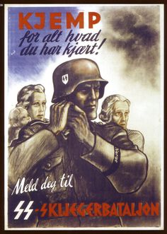 SS-Recruitment poster from Norway during German occupation 1940-45. __________________________________________________ Written on the poster translates to; ''SS-Day 1943 14-15 August In Oslo German...