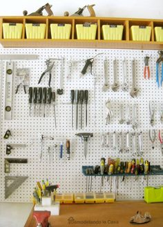 34 Garage Organization Ideas : DIY Garage Organization Ideas - Install a Pegboard - Cheap Ways to Organize Garages on A Budget - Ideas for Storage, Storing Tools, Small Spaces, DYI Shelves, Organizing Hacks Pegboard Garage, Easy Garage Storage, Garage Storage Solutions, Diy Garage, Storage Ideas, Kitchen Pegboard, Metal Pegboard, Garage Doors, Small Garage