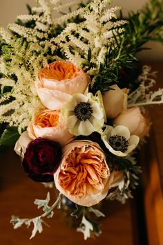 Bouquet ideas... roses and anemones... View the full wedding here: http://thedailywedding.com/2016/04/12/floral-cliffside-wedding-kathryn-david/