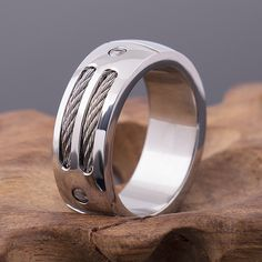2017 New Summer Fashionable Men's Stainless Steel Ring Unique Cables and Screw Design For Gentlemen Size 6 7 8 9 10 11 12 13 14