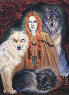 Skaði is a jötunn and goddess associated with bowhunting, skiing, winter, and mountains. She is also considered as a wolf deity and is usualy accompanied by them. Her home are the mountains, which turns her marriage with the god Njörðr, who lives by the sea, into a disaster! http://en.wikipedia.org/wiki/Ska%C3%B0i