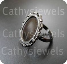 Lacy Ring Base Mounting Bezel Setting Antiqued