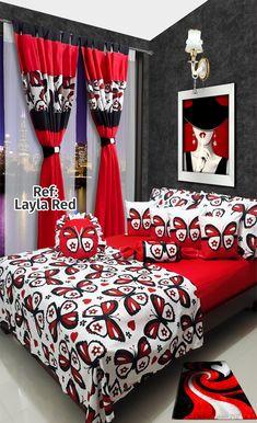 Ref: Layla Red εїз Disponible en cortinas, cojines, juegos de baño y sábanas en todas las medidas: Sencilla (1mx1.90m), Semi (1.20mx1.90m), Doble (1.40mx1.90m), Queen (1.60mx1.90m) y King (2mx2m) #Layla #Dalotex #Lenceria #Hogar #Sabanas #moda #colors #butterfly #SabanasDalotex #Red Bedroom Images, Bedroom Pictures, Bedroom Ideas, Blue Bedroom, Living Room Bedroom, Living Room Decor, Bed Cover Design, Designer Bed Sheets, String Lights In The Bedroom