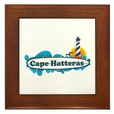 Cape Hatteras NC - Lighthouse Design Framed Tile on CafePress.com