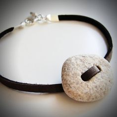 My fave beach button bracelet on leather from JewelryByMaeBee on Etsy. One-of-a-kind! $22