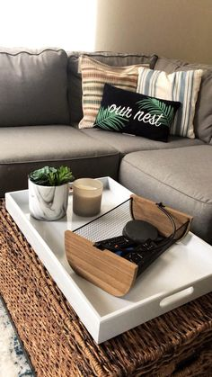 The perfect tray gives any living room a great focal point. This high quality oversized ottoman tray is exactly what this space needs! Large Ottoman Coffee Table, Padded Coffee Table, Ottoman Table, Coffee Table Tray, Tray For Ottoman, Table Decor Living Room, Ottoman In Living Room, Living Rooms, Serving Trays For Ottomans