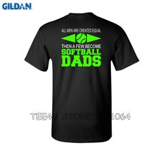 Tee4U Retro Men'S Short All Men Are Created Equal Then A Few Become Softball Dads Crew Neck Christmas Shirt